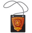 police badge leather holder with chain vector image vector image