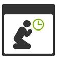 Pray Clock Calendar Page Flat Icon vector image vector image