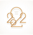 realistic gold metal logo new year 2022 vector image vector image