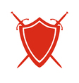 Red icon of shield and two crossed swords under it vector image vector image