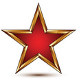 refined red star with golden outline festive 3d