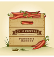 Retro crate of chili peppers vector image vector image