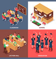 school 4 isometric icons concept vector image vector image