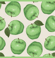 seamless pattern green apples vector image vector image