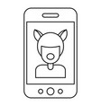selfie mask animal icon outline style vector image vector image