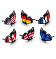 set butterflies with different flags vector image