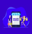 shopping online people using smartphone vector image