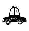silhouette emergency police car transport with vector image vector image