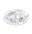 tasty salad on plate hand drawn with contour lines vector image