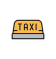 taxi car rosign flat color line icon vector image vector image
