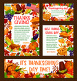 thanksgiving day greeting banner template set vector image vector image