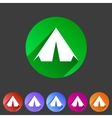 Tourist tent flat icon web sign symbol logo label vector image