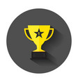 trophy cup flat icon simple winner symbol with vector image vector image