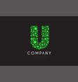 u letter bubble green logo icon design vector image