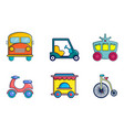 vehicle icon set cartoon style vector image