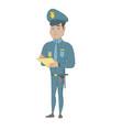 young hispanic traffic policeman writing fine bill vector image vector image
