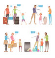Abusing Children Situations Set vector image
