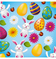 pattern decorative bunnies eggs and flower easter vector image
