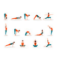 young girl practicing yoga set of different poses vector image