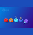 3d gradient cylinders with people on a dark vector image vector image