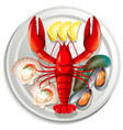 a seafood set on plate vector image vector image