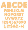 alphabet numbers made from chiselled cookies vector image