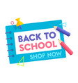 back to school banner with typography and colored vector image