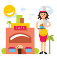 beautiful female chef with delicious vector image vector image