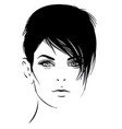 beautiful girl portrait bob hairstyle vector image vector image