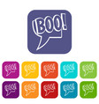 boo comic text speech bubble icons set flat vector image vector image