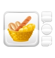 Bread basket icon on silver button vector image