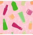 Bright seamless pattern with cosmetic bottles vector image vector image