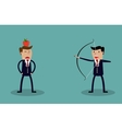 Business executive holding bow and arrow vector image