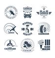 Car Wash Black Emblems Icons Set vector image vector image