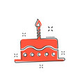 cartoon birthday cake icon in comic style fresh vector image vector image
