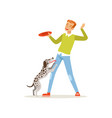 cheerful red-haired man playing frisbee with his vector image