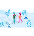 children make snowman in the park flat vector image