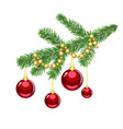 christmas tree branch golden beads red balls vector image vector image