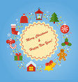 christmass card with icon vector image