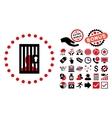Closed Prisoner Flat Icon with Bonus vector image vector image