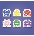 color icons with pixel alien monsters vector image vector image