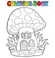 coloring book mushroom house vector image