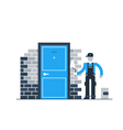Construction worker by brick wall with spatula vector image