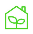 eco green house simple outline icon lush green vector image vector image