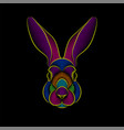 Engraving stylized psychedelic rabbit portrait