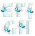 Fabric patchwork alhabet Letter E F G H I vector image vector image