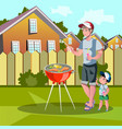 family enjoying barbecue outdoors vector image vector image