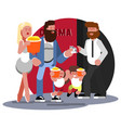 family passing ticket control vector image vector image