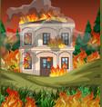 fire destroy mansion background vector image vector image
