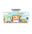 flat line design hero image - summer vacation vector image